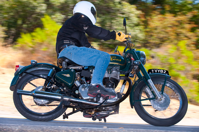 Royal Enfield Bullet 500 Motorcycle On Mulholland Right Side